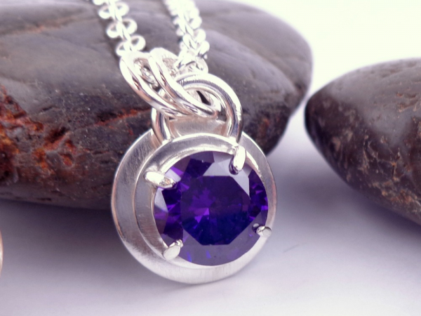 Purple Faceted Cubic Zirconia Solitaire and Sterling Silver Necklace