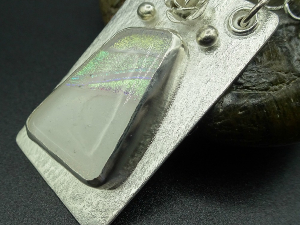 Artisan Dichroic Glass and Sterling Silver Necklace