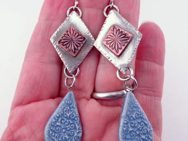 Artisan Porcelain Drops and Mixed Metal Earrings