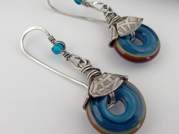 Artisan Teal Discs and Sterling Silver Earrings