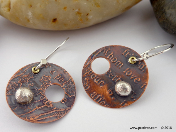 Etched Copper and Sterling Silver Earrings