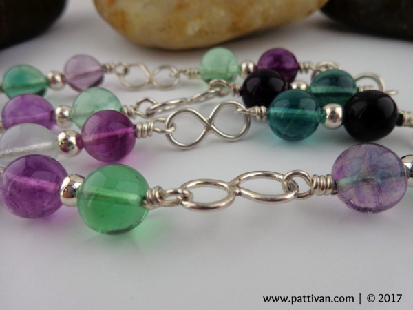 Fluorite Gemstones and Sterling Silver Infinity Link Necklace