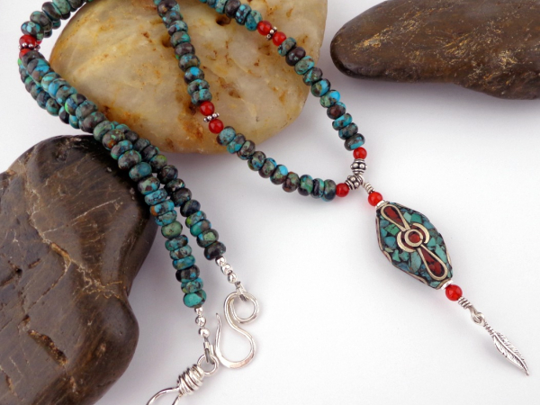 Hubei Turquoise and Carnelian Necklace with Tibetan Bead Focal and Sterling Acce