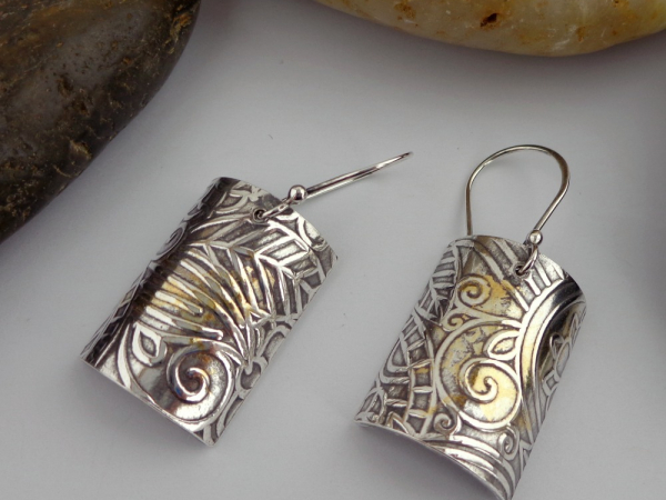 Keum Boo Silver Earrings with 24K Gold Accents
