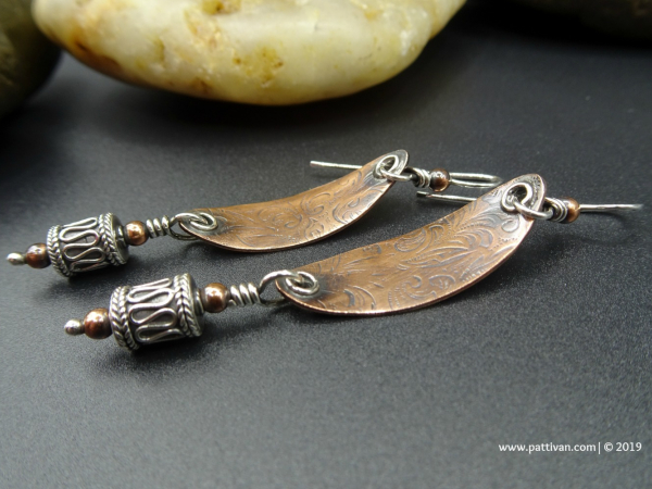 Textured Copper and Silver Oval Earrings