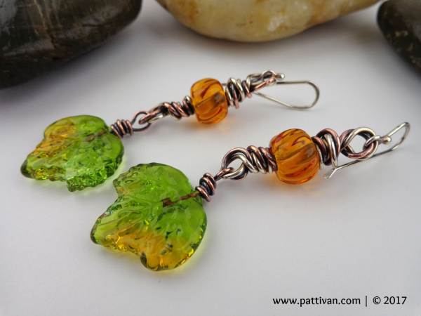 Artisan Glass Leaves and Mixed Metal Earrings