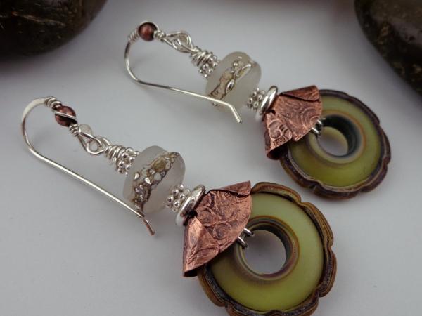 Olive Artisan Glass Beads Mixed Metal Earrings