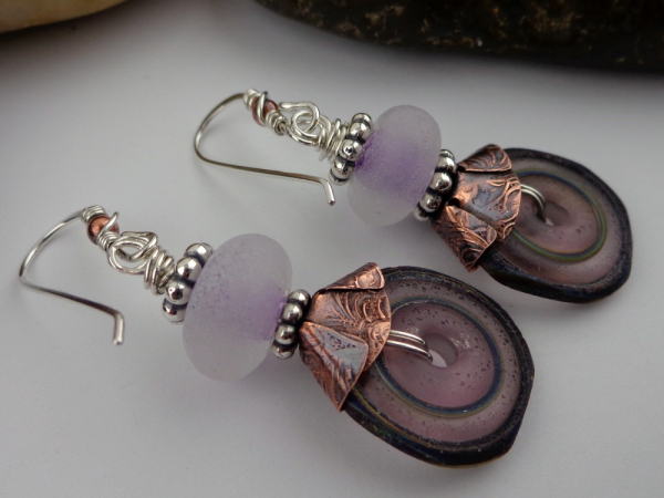Rustic Lavender  Artisan Glass Beads Mixed Metal Earrings