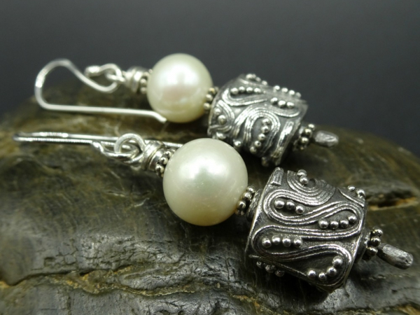 Pearls and Antiqued Sterling Silver Earrings