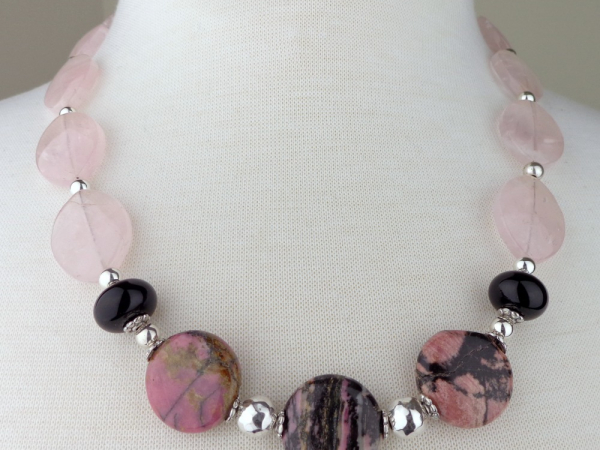 Rhodonite and Marquise Shaped Rose Quartz Necklace