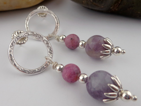 Ruby and Pink Tourmaline w/Pink Lepidolite Sterling Silver Earrings