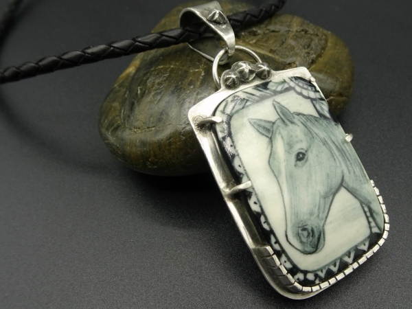 Sterling Silver and Artisan Ceramic Horse Pendant Necklace