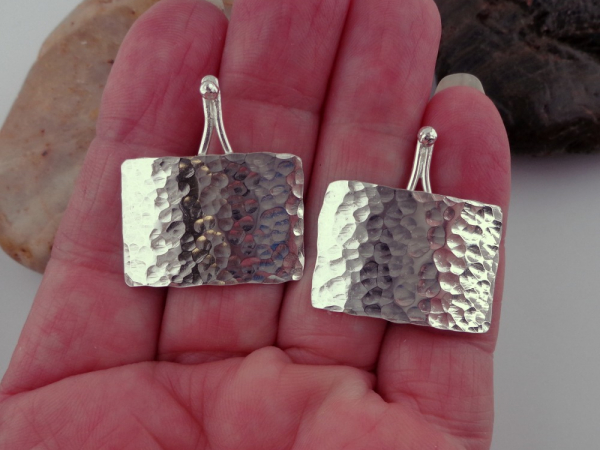Hammered Sterling Silver Post Style Earrings