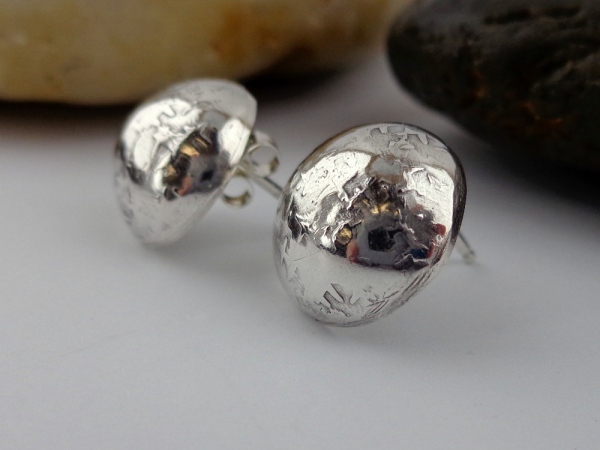 Sterling Silver Post Style Button Earrings
