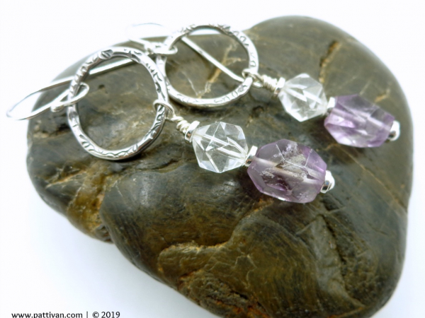 Sterling Silver Earrings Amethyst with Crystal Quartz