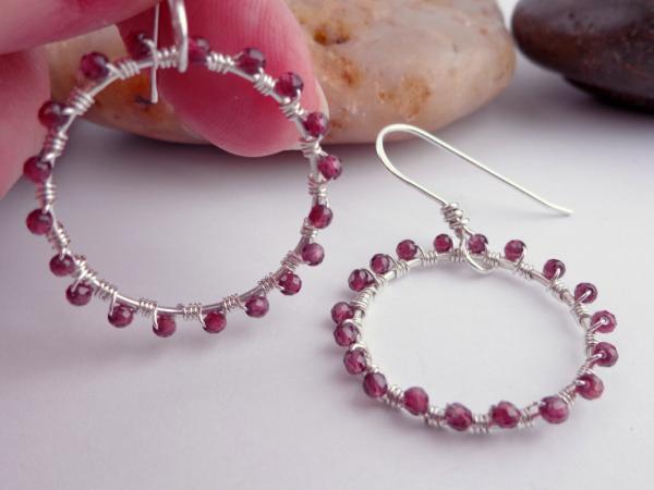 Sterling Silver And Red Garnet Wrapped Hoop Earrings