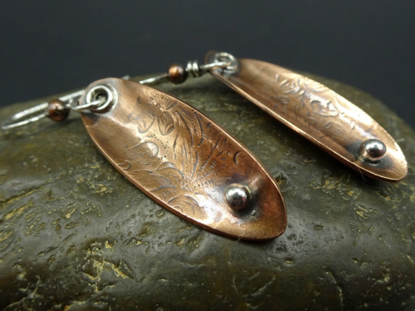 Textured Mixed Metal Oval Earrings