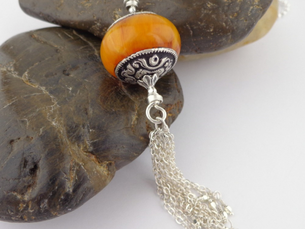Tibetan Bead and Sterling Silver Tassel Pendant Necklace