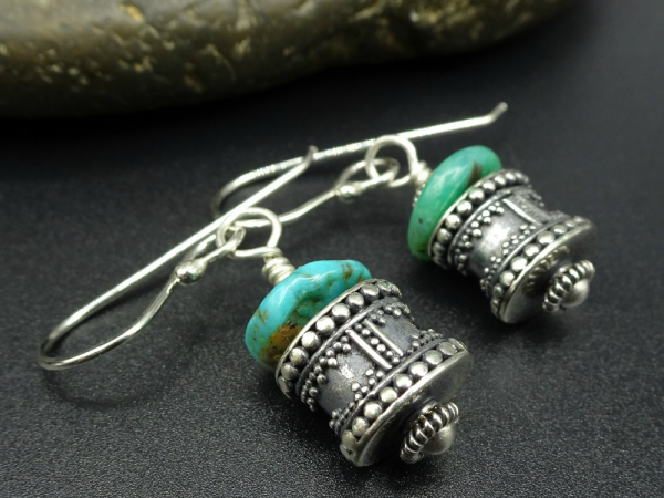 Turquoise and Sterling Silver Bead Earrings