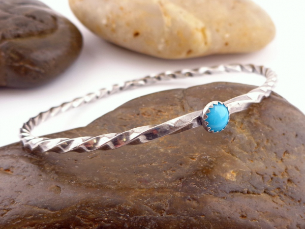 Turquoise and Twisted Sterling Silver Bangle
