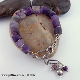 Amethyst and Sterling Silver Adjustable Bracelet