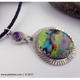 Artisan Glass Cabochon and Amethyst Sterling Silver Necklace