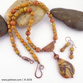 Artisan Jasper Horse Pendant and Jasper Necklace and Earrings
