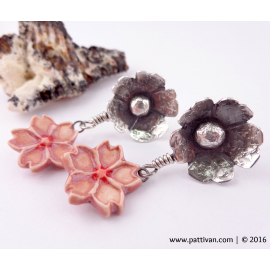 Cherry Blossom Sterling Silver and Porcelain Post Earrings