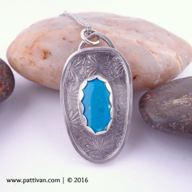 Blue Opal Cabochon and Sterling Silver Pendant Necklace