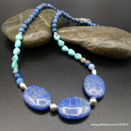 Denim Lapis Lazuli and Turquoise Necklace