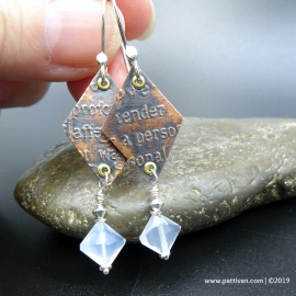 Etched Copper and Blue Chalcedony Earrings