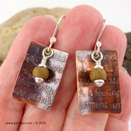 Etched Copper and Gold Druzy Agate Earrings