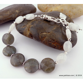 Faceted Labradorite and Moonstone adjustable Bracelet