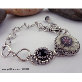 Adjustable Sterling Bracelet with Artisan Glass and Onyx Cabochons