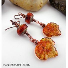 Golden Autumn Leaves Copper Earrings