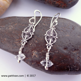 Sterling Silver Filigree and Herkimer Diamond Drop Earrings
