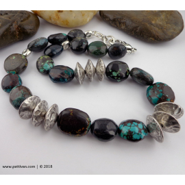 Hubei Turquoise and Pewter Bead Chunky Necklace