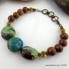 Hubei Turquoise and Wood Bead Bracelet
