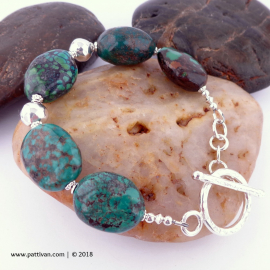 Hubei Turquoise and Sterling Silver Bracelet