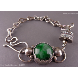 Jade Cabochon Bracelet with Handmade Sterling Silver Chain