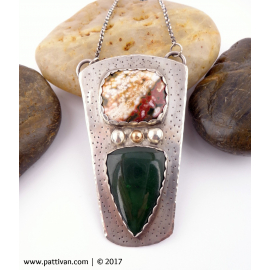 Jasper and Green Agate Sterling Silver Necklace