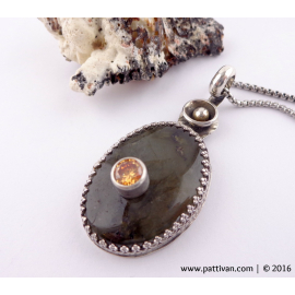 Stone on Stone Labradorite and CZ Sterling Necklace
