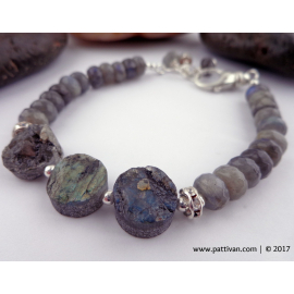 Labradorite and Sterling Silver Adjustable Bracelet