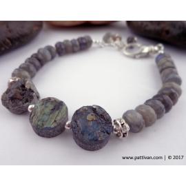 Labradorite and Sterling Silver Adjustable Bracelet
