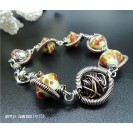 BGO 2 -Artisan Lampwork and Coiled Mixed Metal Bracelet