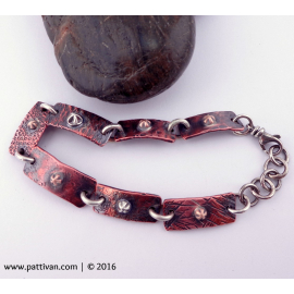 Mixed Metal Copper and Silver Link Bracelet