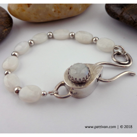 Moonstone and Sterling Silver Hollow Box Clasp