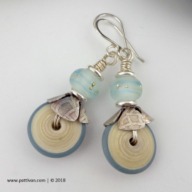 Artisan Pale Blue Discs and Sterling Silver Earrings