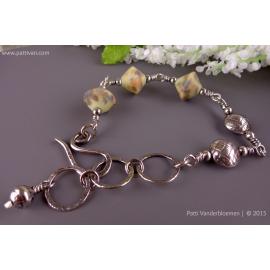 Artisan Pastel Speckled Lampwork with Handmade Sterling Beads Adjustable Bracele