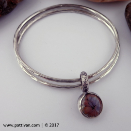 Set of 2 Heavy Gauge Sterling Bangles with Artisan Cabochon